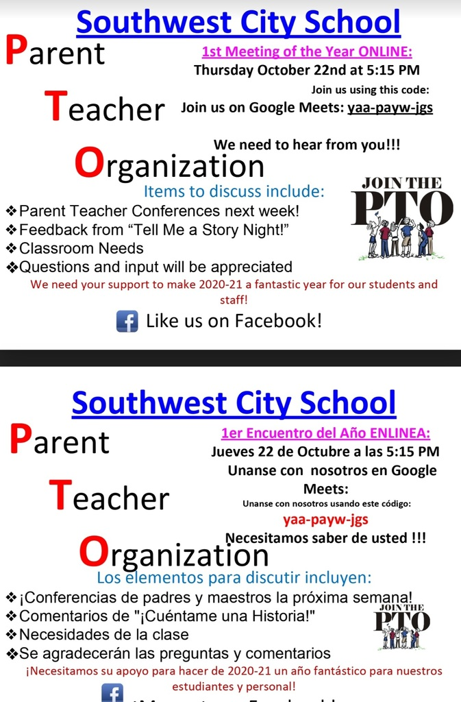 PTO - Virtual Meeting - 10/22/2020 @ 5:15 P.M. on Google Meets