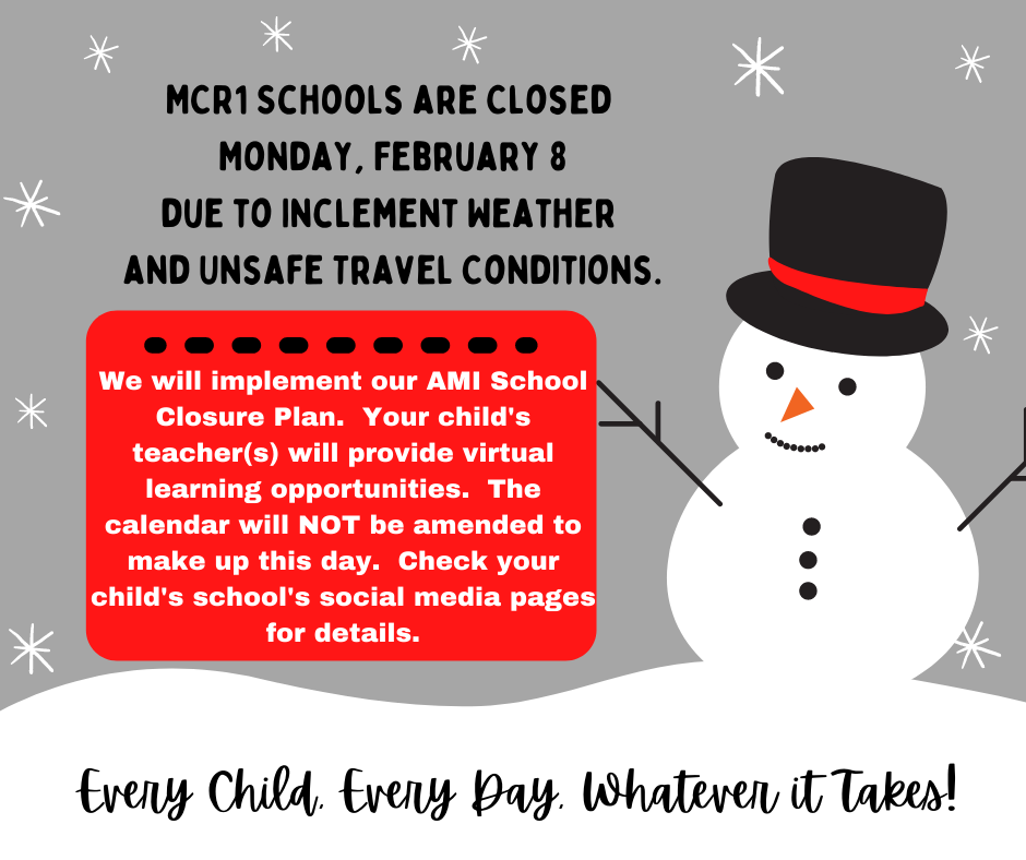 No school Monday, February 8 notice.  Gray, black, and red with MC and Mustang graphic.