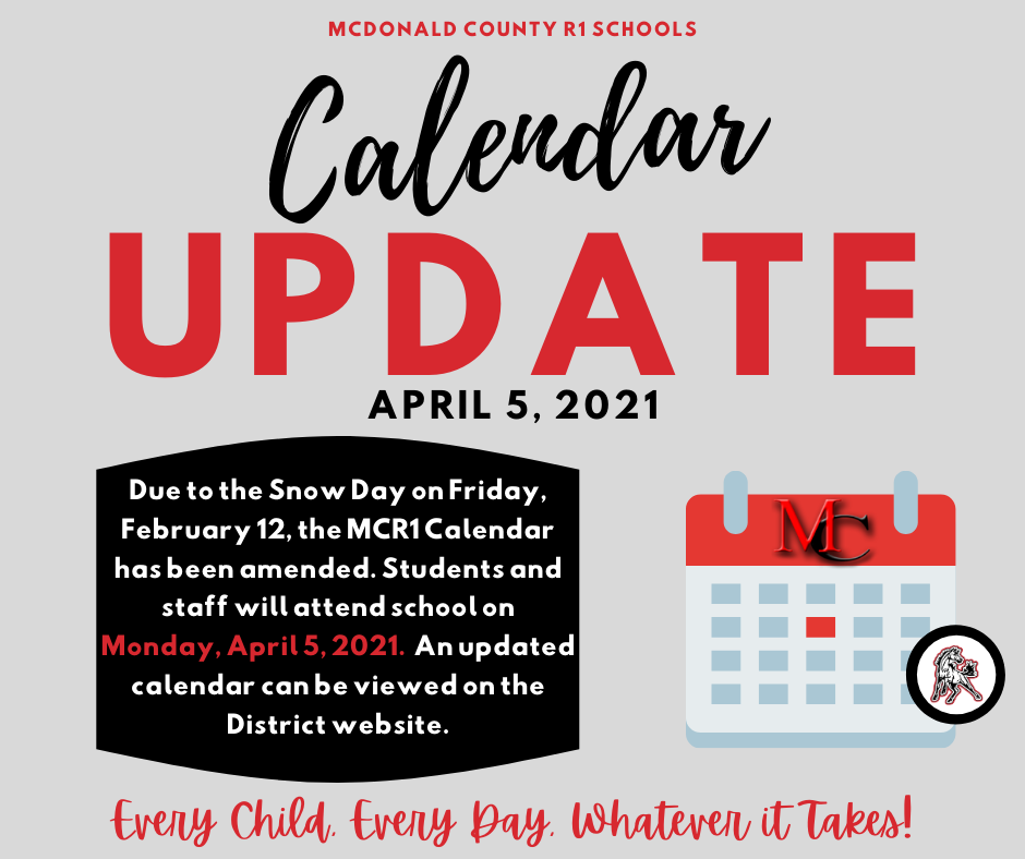 Calendar update notice.  Red, gray, black and white text with a calendar graphic.