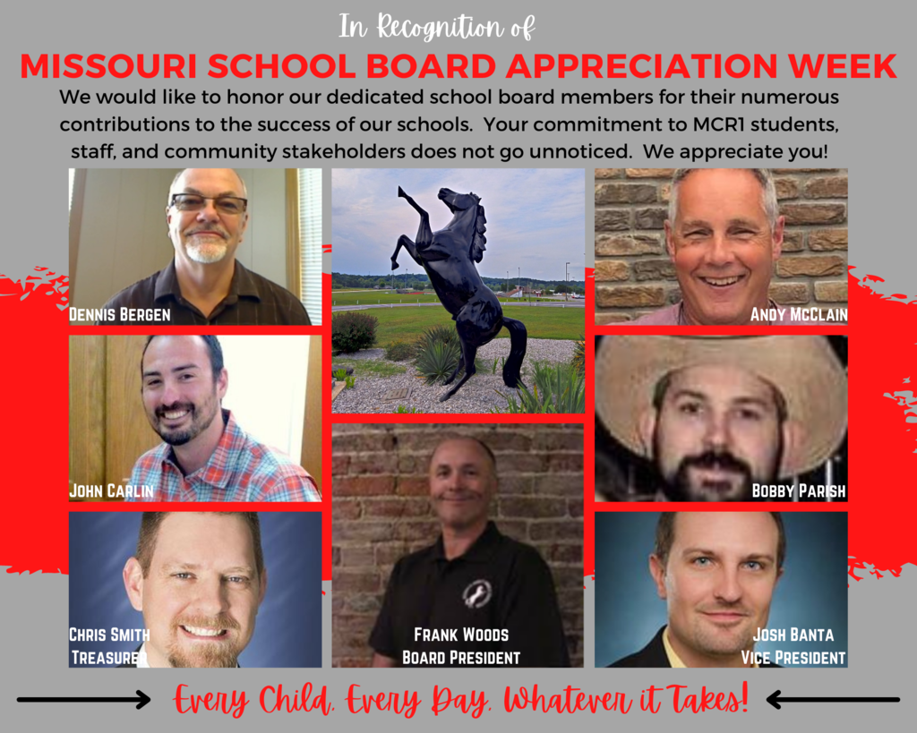 Collage of photographs of school board members and a mustang sculpture on a gray and red background with black, white, gray and red text.