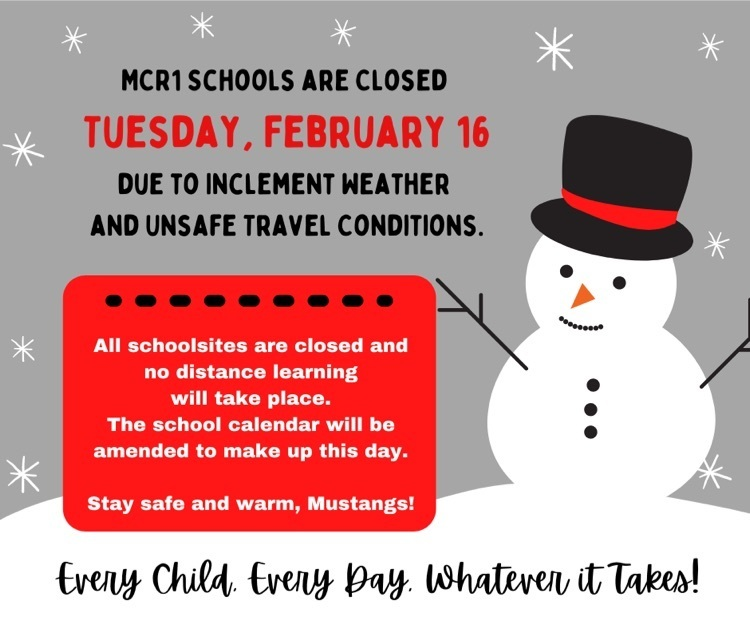 school cancelation notice with snowman graphic
