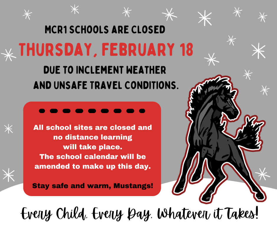 School closure notice with mustang graphic.
